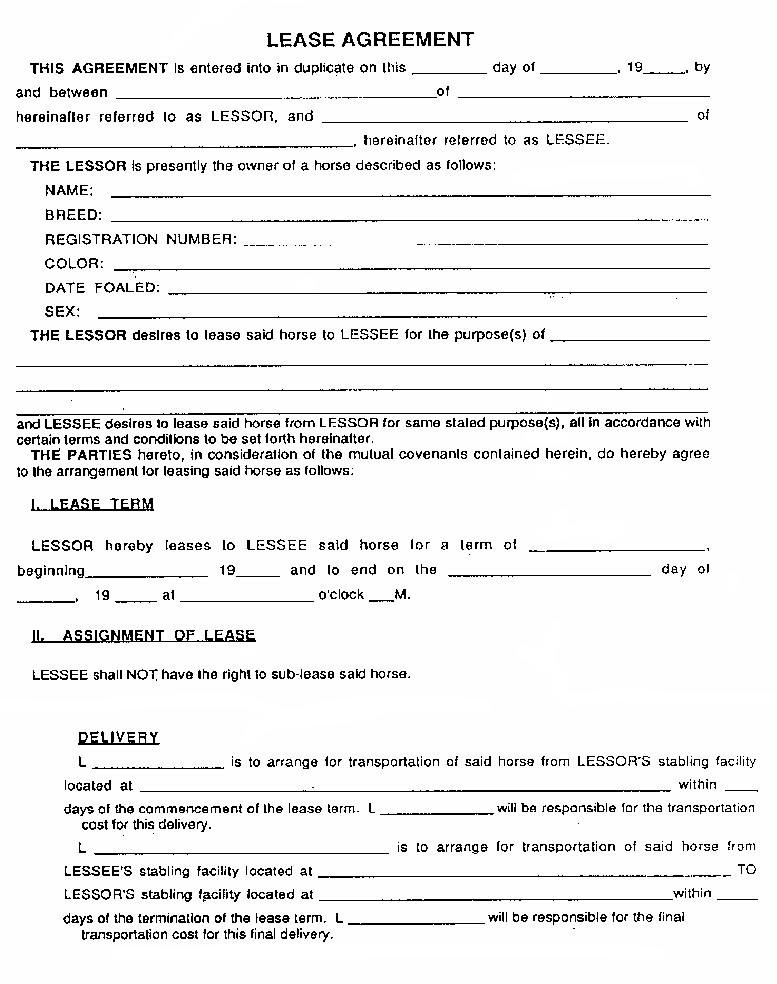 Equine Release Form Sample Lease Agreement  Bay Area